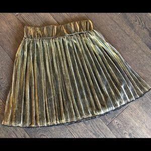 Gold sheer, lined skirt, mini